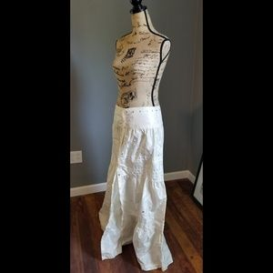 Philosophy White maxi skirt w/ sequins & snaps